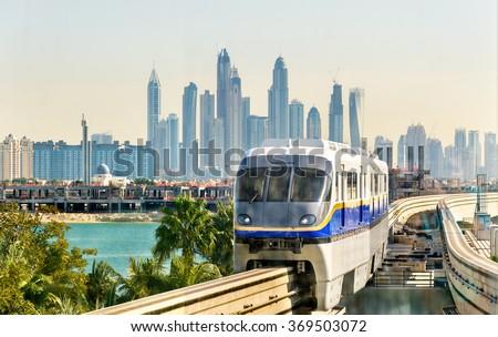 Train arriving at Atlantis Monorail station in Dubai