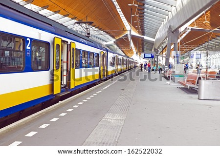 Train arriving at Bijlmerstation in Amsterdam the Netherlands