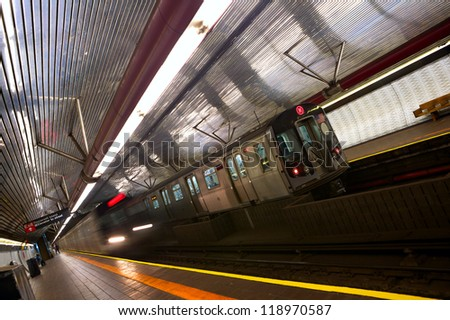 Train arriving to station, New York City subway