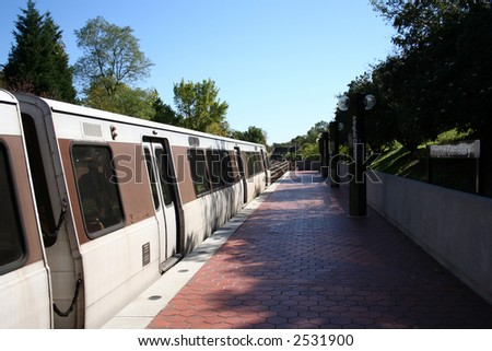 Train at Arlington Cemetery metro Station Washington DC
