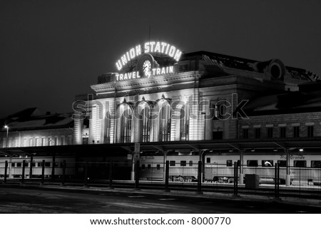 train at union station at night in denver colorado