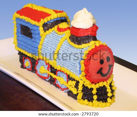 Train birthday cake with clipping path