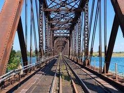 Train bridge across the mighty Niagara River in southern Ontario, Canada.