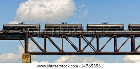 Train cars on the bridge