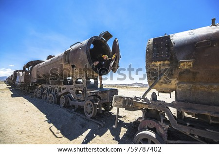 train cemetery  uyuni  bolivia. ...