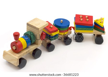 Train - children's wooden toy isolated on  white background