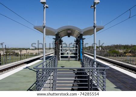 Train depot on raised platform