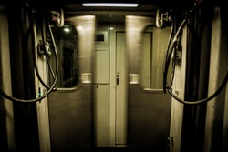 Train doors closing quickly frontally