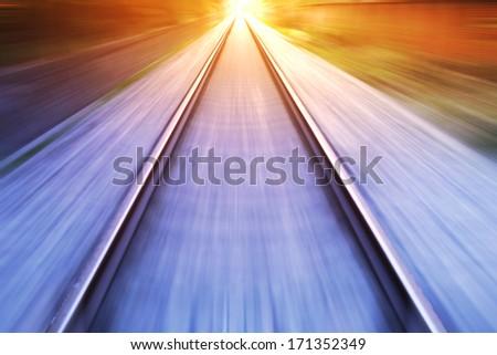 train fast run on railway track in sunny day Stock photo ©