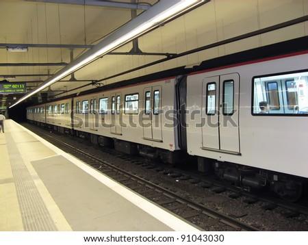 Train in Barcelona city underground