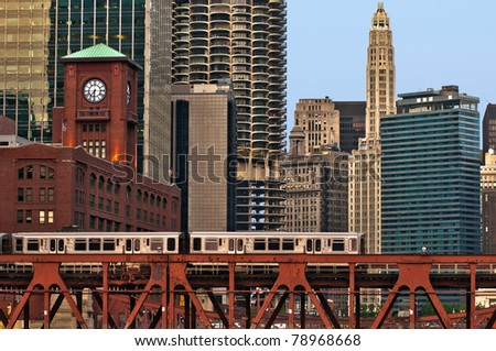 Train in downtown Chicago.