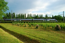 Train in Motion through Green scenery, France, Europe