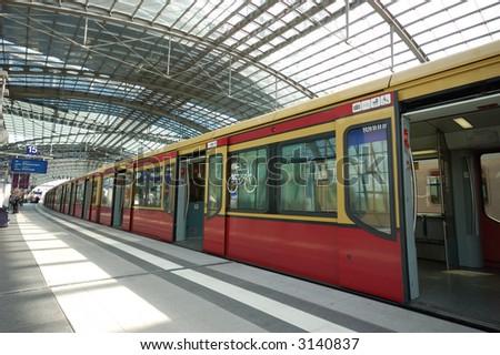 Train in the Berlin's main train station