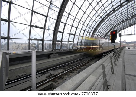 Train is coming in Berlin - stock photo