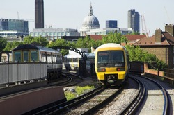 Train leaving Elephant and Castle Station, London