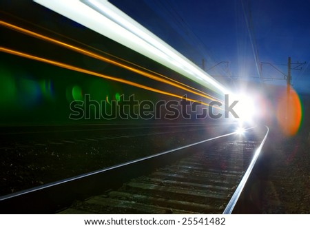 Train moving in the night.