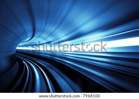 Train moving in Tunnel -Abstract View - stock photo
