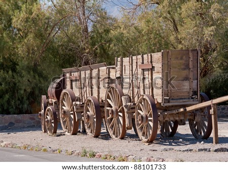 train of wagons by Death Valley California used for moving goods