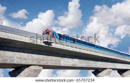Train on bridge cloudy sky as a background