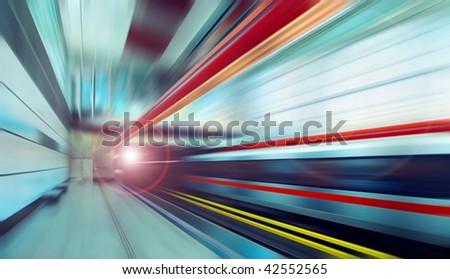 Train on speed in railway station