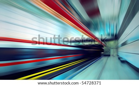 Train on speed in railway station #54728371