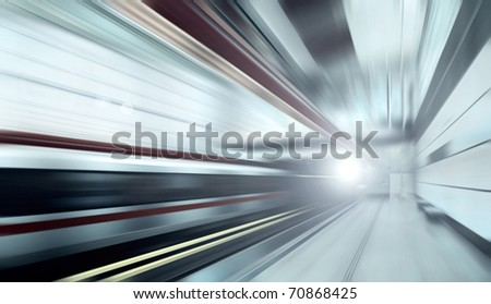 Train on speed in railway station