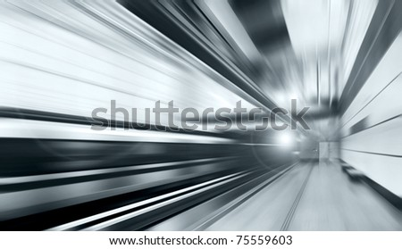 Train on speed in railway station #75559603