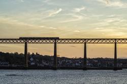Train passing Abutments on Forth Rail Bridge