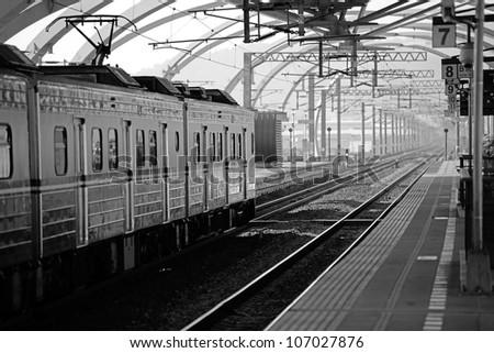 Train passing by the Don-Shan Train Station, Yi-Lan, Taiwan