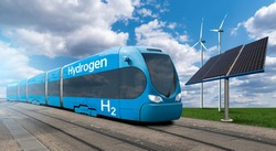 Train powered by hydrogen with wind turbines and solar panels. Getting green hydrogen from renewable energy sources