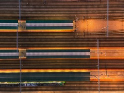 Train Rail Tracks from Above. Aerial Drone Abstract Pattern. Top Down View.