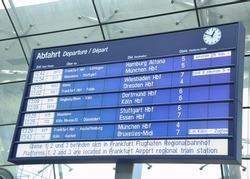 train schedule Billboard at the Frankfurt Airport train station, Germany