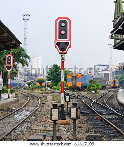 Train signals for railroad and and traffic light for locomotive at Bangkok platform railroad station Thailand with railroad track