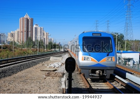 Train speeding along its tracks.
