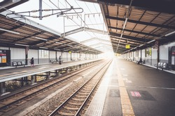 Train station at osaka japan in early morning, empty train, vintage style