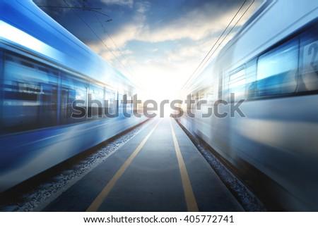 train station at sunset #405772741