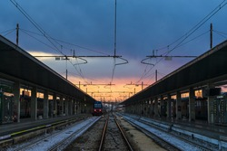 train station in europe with twilight sky , italy