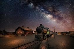 Train Station in Saudi Arabia with starry night