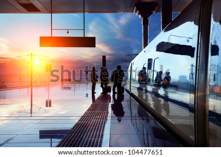 train stop at railway station with sunset #104477651