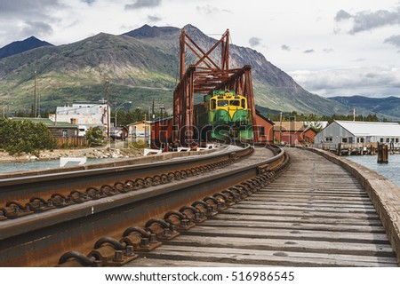 Train stopped in Carcross, Yukon, Canada ready to set off to Skagway, Alaska, USA.