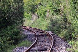 train track of the Central Atlantic railway in the city of Conceição do Coite, Bahia, Brazil.