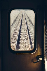 Train track Railroad Journey look through Train window Travel concept