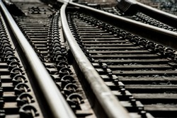 train track switches close up selective focus