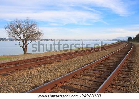 Train tracks along the San Pablo Bay, California
