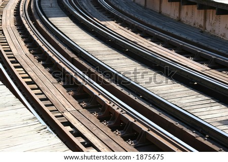 Train Tracks entering a curve