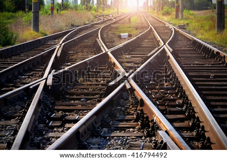 Train tracks leading into the sunset