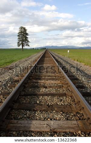 Train tracks through a farm field.