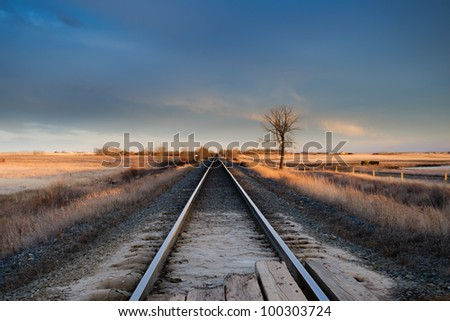 Train Tracks through the prairies Alberta Canada