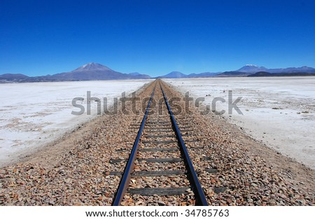 train tracks to the horizon