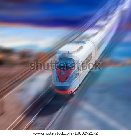Train traveling with great velocity in modern times #1380292172
